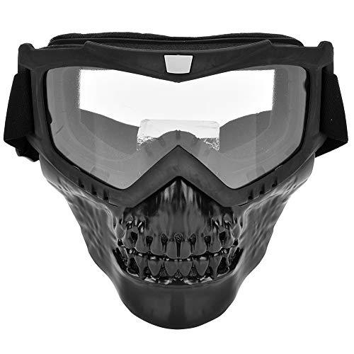 Alomejor Casco de La Motocicleta Gafas Máscara Facial de La Motocicleta con Gafas Protección UV Montar Gafas (Transparent)