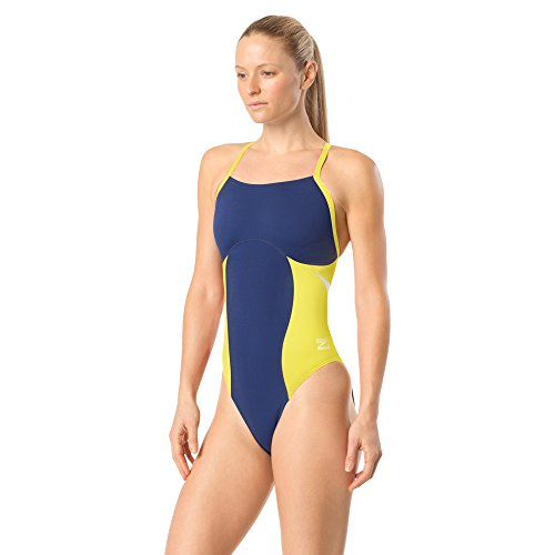 Speedo Women's Swimsuit One Piece Endurance+ Flyback Color Block Adult Team Colors,Spark Navy/Gold,28
