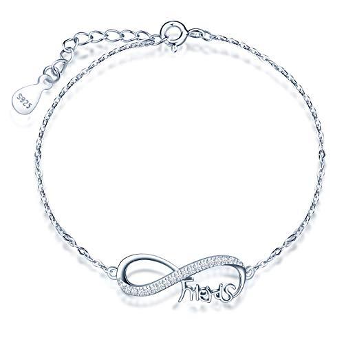INFINIONLY Pulsera de plata esterlina 925 para mujer, símbolo infinito y elemento'Friends', incrustaciones de circonita, plata, Regalos de cumpleaños, Navidad y San Valentín