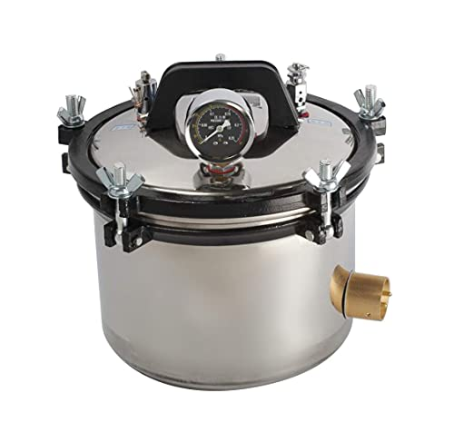 ixaer Lab Autoclaves 8L / 2 Gallon Portable Steam Sterili-zer Stainless Steel Shell Pressure Canner Dental Equipment 110V(Shipping from US)