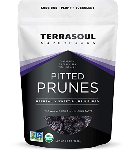 Terrasoul Superfoods Organic Dried Plums Pitted Prunes, 1.5 Lbs - Fiber | Vitamin K | Preservative Free