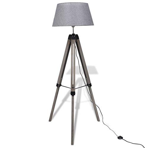 vidaXL Stehlampe Stativ-Standfuß Design Grau Stativlampe Leselampe Stehleuchte