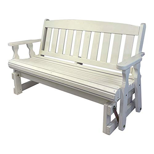 CAF Amish Heavy Duty 800 Lb Mission Pressure Treated Porch Glider (4 Foot, Semi-Solid White Stain)