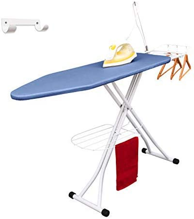 """Xabitat 47"""" x 15"""" Deluxe Ironing Board with Wall Mount Storage, Storage Tray for Finished Clothes, Wire Rack for Hang..."""