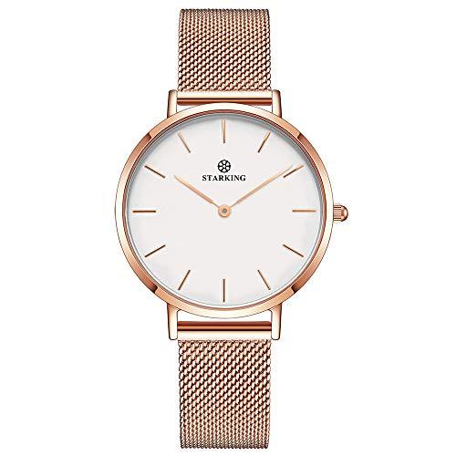 Damen Analog Quarz Uhr Minimalistisch Mode Elegant Beiläufig Quarzuhr für Damen, mit Edelstahl Mesh Armband 3ATM Wasserdicht (Weißes Zifferblatt, Roségold)