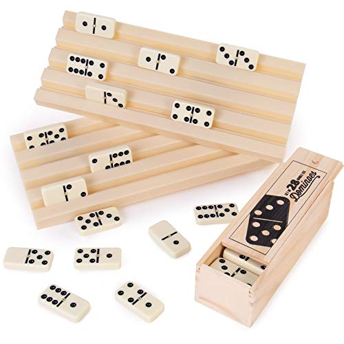 Domino Party Set - 28 Double Six Dominoes, 2 Plastic Trays, & Wooden Storage Box - Retro Game Piece Tile Holder Bundle - Classic Board Games for Kids & Adults - Hobbies, Indoor Activities & Family Fun
