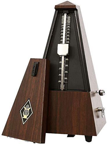 Ulable Metrónomo mecánico antiguo, imitación de madera, temporizador de música para piano, guitarra, violín y otros instrumentos musicales, color teca