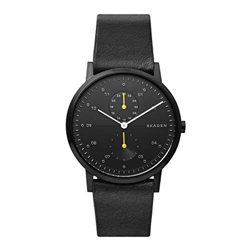 Skagen Kristoffer analoog quartz horloge met zwarte leren band voor heren SKW6499