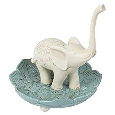 Grasslands Road Resin Good Luck Elephant Jewelry Ring Holder, White / Teal, Medium, 3.5  x 3.5