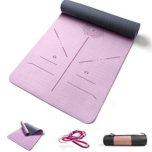 ZBK Esterilla de yoga de 6 mm de grosor, de dos colores de TPE antideslizante, línea de postura, esterilla de yoga ancha de 80 cm, alfombrilla de fitness, 183 x 80 x 0,6 cm, 5 colores