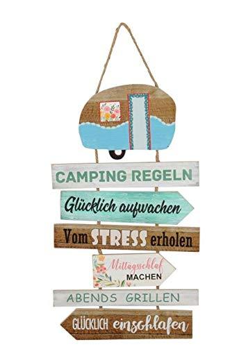 Unbekannt MDF Schild Camping Regeln 62 x 35 cm Wohnwagen Urlaub Geschenk Dekoration