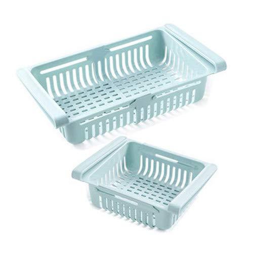 Organizador De Cajones para Frigorífico Nevera, Caja De Almacenamiento De Refrigerador De Cocina Retráctil, Mantenga El Refrigerador Ordenado Y Ahorre Espacio (Azul,2 Piezas)
