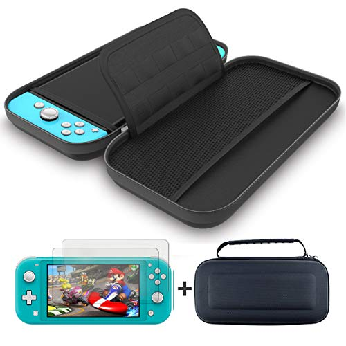 GH Carrying Case and 2 Pack Screen Protector for Nintendo Switch Lite - 1680D Nylon Fabric Switch Light Travel Case Black x1, Ultra Clear Screen Protector Tempered Glass x2