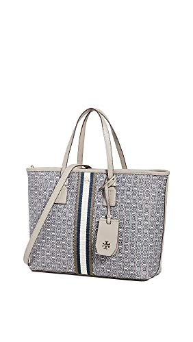 Tory Burch Women's Gemini Link Canvas Small Tote, Grey Heron Gemini Link, One Size