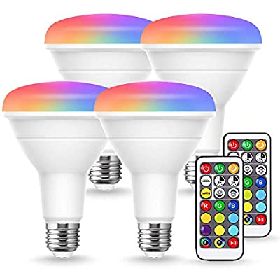 JandCase BR30 Color Changing Flood Light Bulb, 8W=60W Equivalent, Warm+Cool White Light Bulb, 800LM, Remote Control, Dimmable RGB Recessed Lighting for Ceiling, Stage, E26 Base, 4 Pack