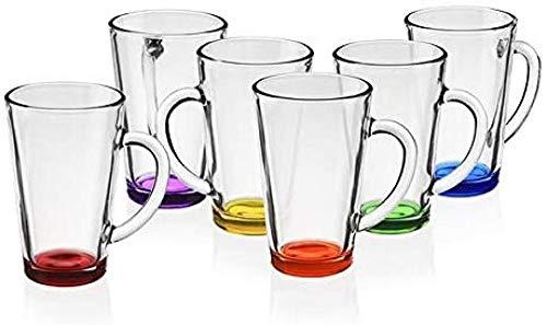 Vasos de café Vasos de té con asa 360 ml Juego de 6 vasos multicolores