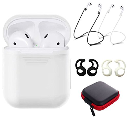 Tutor AirPods case Silicone Protective Cover with 2 Anti-Lost Strap,2 Pairs of Ear Hook and 1 Headphone Case for Apple AirPods (6PACK)-White