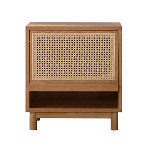 Nattduksbord Sängbord Modern Solid Wood Nattduksbord Cabinet Rattan japanska Storage Unit Organizer Skåp med träben för vardagsrum Sovrum Sängbord
