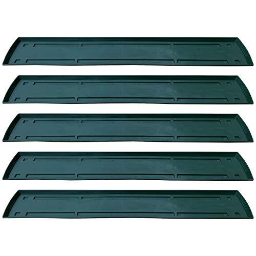 5 Untersetzer für Blumenkasten Set Balkonkasten Pflanzkasten Grün 80cm