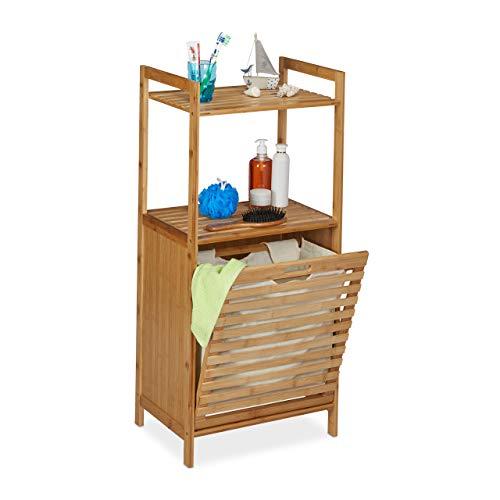 Relaxdays Wäscheschrank mit Wäschekorb, Bambus Badregal mit ausklappbarem Wäschesammler, HBT 100 x 45,5 x 33,5 cm, Natur, 1 Stück