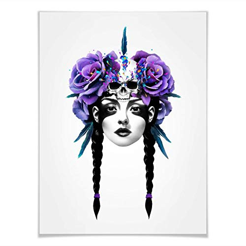 Poster Ruben Ireland New Way Warrior con teschio, illustrazione, arte da donna, portrait, fiori, teschio, rosa, piuma senza accessori, Multicolore, 120x150 cm