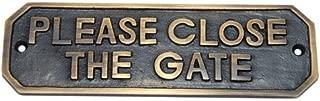 Adonai Hardware Please Close The Gate Brass Door Sign - Antique Brass