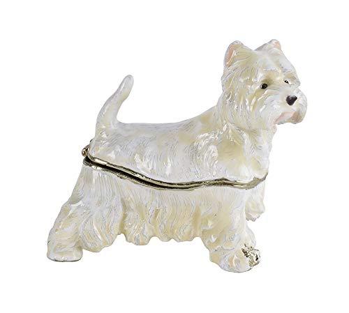 Zierdose Hundefigur Terrier Deckeldose Weiss Pillendose Emaille Box cl222 Palazzo Exklusiv