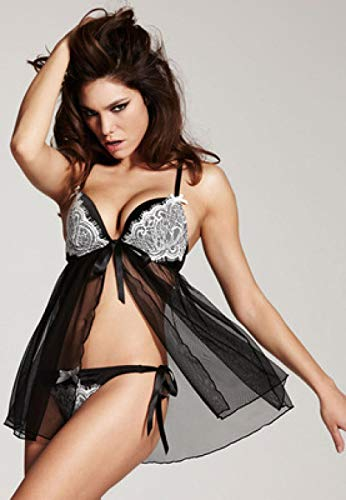 FPBY Bustiers Y Corsés Eróticos para Mujer Lencería Erótica Perspectiva Sexy Camisón Lady Temptation Sling Skirt-Black_L