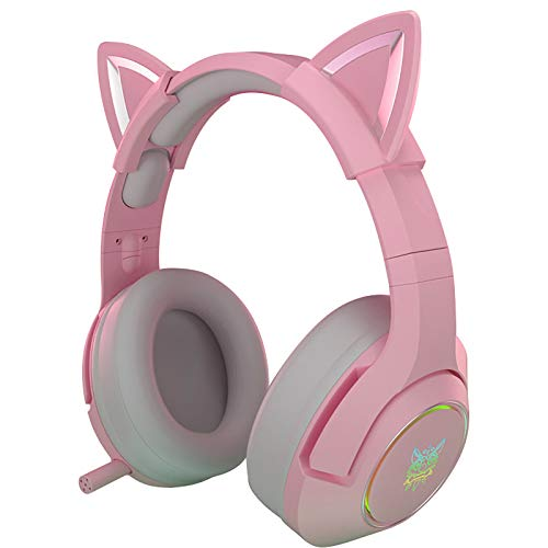 SHANGH New K9 Pink Wired Game Cat Ear Headset with Retractable Mic Over Ear Headphones with RGB LED Lights, Surround Sound, Detachable Cat Ears Earphones for Kids Adult Girls