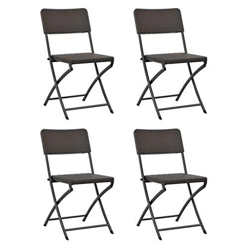 Festnight Lot de 4 Chaises Pliantes de Jardin Chaise Exterieur Chaise pour terrasse HDPE Marron 45 x 54 x 81 cm
