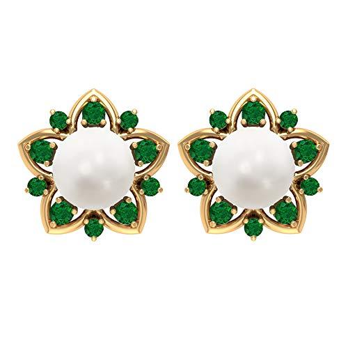 14k Gold Pearl Earrings for Women, 7 MM Freshwater Pearl Studs, Emerald Earrings, 6.6 CT Pearl Solitaire Earrings for Girls, 14K Yellow Gold, Pair