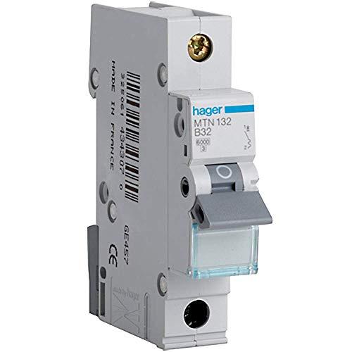 Hager MTN132Mini-Leitungsschutzschalter, 1Pol, 1Modul, Typ B, 6kA Schaltleistung, 32A Stromstärke