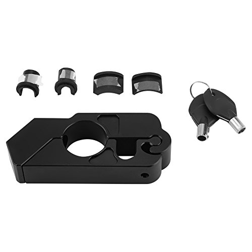 Qiilu Universal CNC in lega di alluminio per moto manubrio blocco leva di sicurezza del veicolo(nero)