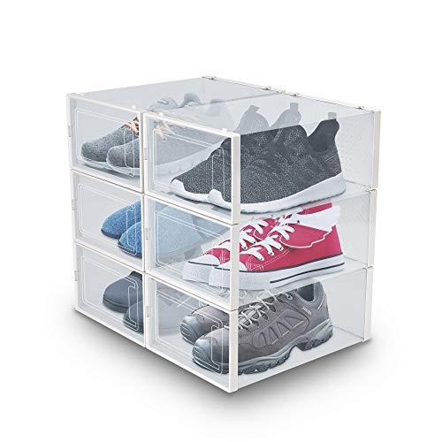 achilles Opvouwbaar en stapelbaar schoenenrek met transparante deur, stapelbaar, transparant 33,5 x 23 x 14 cm