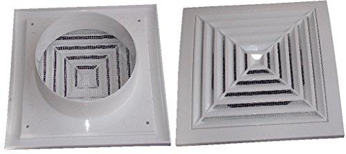 Air Ventilation Kunststoff Grill 190mm x 190mm Deckenleuchte Gitter Ø125Luftführung/weiß