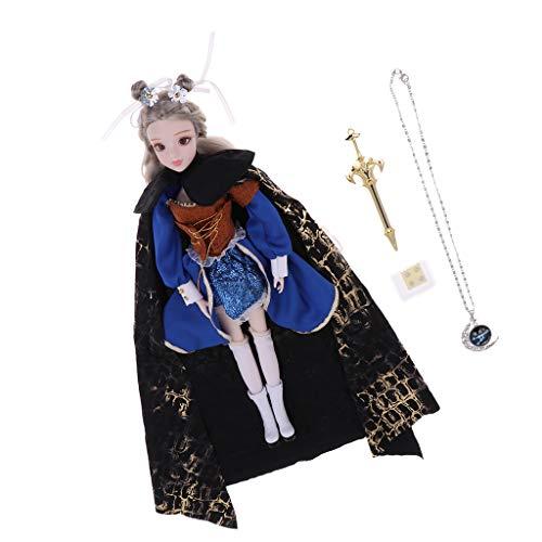 perfeclan Tarot de 12 Pulgadas The Chariot BJD Girl 1/6 Scale 14 Ball Jointed Doll Juego Completo, Incluye Accesorios para Disfraz Y Peluca