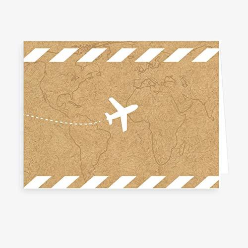 popcard Lote de 40 marcadores de lugar Boda, cumpleaños, fiesta • Diseño campestre, elegante y original • Formato 7,5x5,5cm plegado (Viaje)
