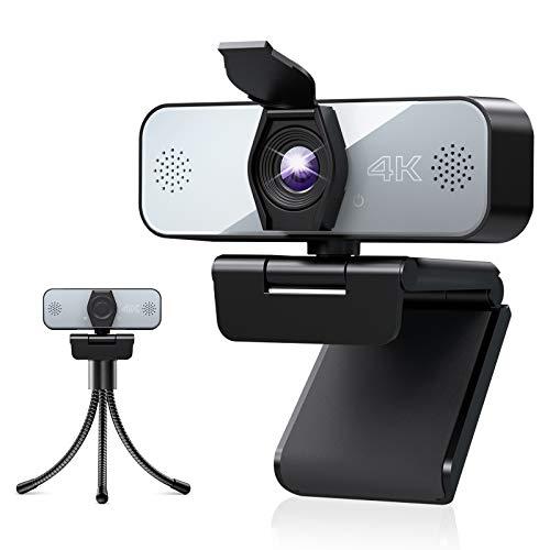 Webcam 4K, Yoroshi Webcam mit Mikrofon und Stativ, Kamera PC für Live-Streaming, Video-Chat, USB Plug und Play, Geeignet für YouTube, Instagram, Skype, Kompatibel mit Windows, Mac und Android