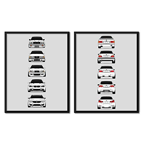 BMW M3 Generations (Front and Rear SET) Inspired Poster Print Wall Art of the History and Evolution of the M3 Generations (BMW Car Models: E30, E36, E46, E92, F80)