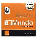 Orange Spain - Tarjeta SIM Prepago con 20 GB en España   800 Minutos Nacionales e internacionales   5€ de saldo   Activación Solo Online en www.marcopolomobile.com