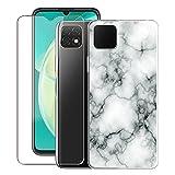 KJYF para Huawei Nova Y60 Funda + Vidrio Templado Película, Transparente Case Anti-Arañazos Silicona TPU Caso Cover y Cristal Templado para Huawei Nova Y60 (6.6') - Canica