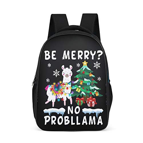 Classic Llama Christmas Kids Backpack Adjustable Shoulder -Llama Bookbag for Elementary Bright Gray OneSize