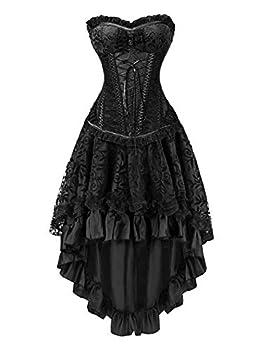 KILLREAL Women s Sexy Masquerade Steampunk Gothic Burlesque Costume Corset with Hi Low Skirt Set Black XX-Large