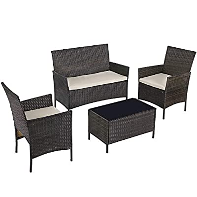 SONGMICS Set of 4 Polyrattan Garden Furniture, Patio Furniture Set with 2 Chairs, 1 Sofa, 1 Coffee Table with Tempered Glass Top, 3 Removable Covers, Black and Beige UGGF002B01