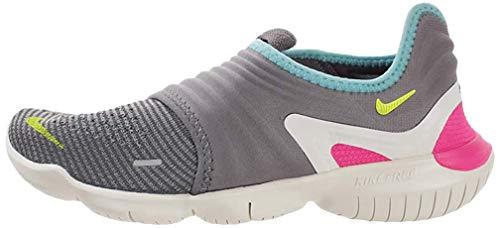 Nike Wmns Free RN Flyknit 3.0, Zapatillas de Atletismo Mujer, Multicolor (Gunsmoke/Volt/Aurora Green 000), 37.5 EU