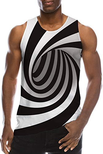 Men Cool Turbo Tops Tank Casual Gym Workout A-Shirt Funny Black White Circle Graphics Sleeveless Tees for Teens Boy Athletic Hipster Jersey 80s Youth Tropical Hawaiian Luau Party Hip Hop Vest, L