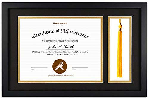 Golden State Art, Diploma Tassel Shadow Box, 11x17.5 Wood Frame for 8.5x11 Document/Certificate, with Double Mat (Black Over Gold), Tassel Holder & Real Glass, Black