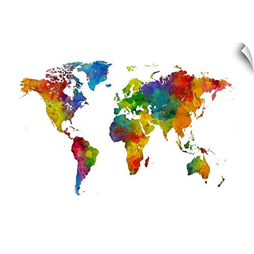 CANVAS ON DEMAND Map of The World, Watercolor, Multicolor Wall Decal, Map Artwork