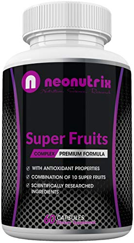 Super Fruit Antioxidant Supplement - 10 Fruits Blend with Acai Berries, Raspberry, Wild Cherry, Blueberry & Elderberry for Men and Women 60 Capsules Made in USA by Neonutrix