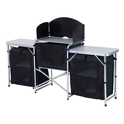 Outsunny 6' Aluminum Portable Fold-Up Camping Kitchen with Windscreen and